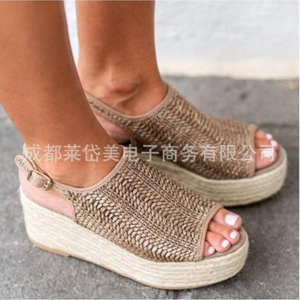 Bottom Linen Network Independent Braided Fish Mouth Thick Honor2019 Sandals Will Code 658258