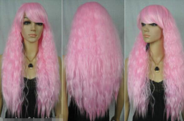 FREE SHIPPING+ + + Cosplay Long pink heat-resistant curly Wig