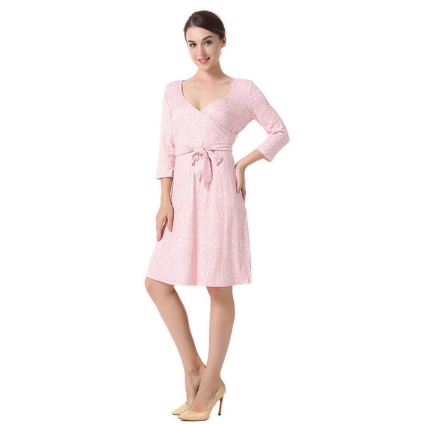 Dress Women 2019 Spring V-neck Sexy Sleeve Cropped Dress With Printed Dress Clothing Vestidosl Fg11 Y190426
