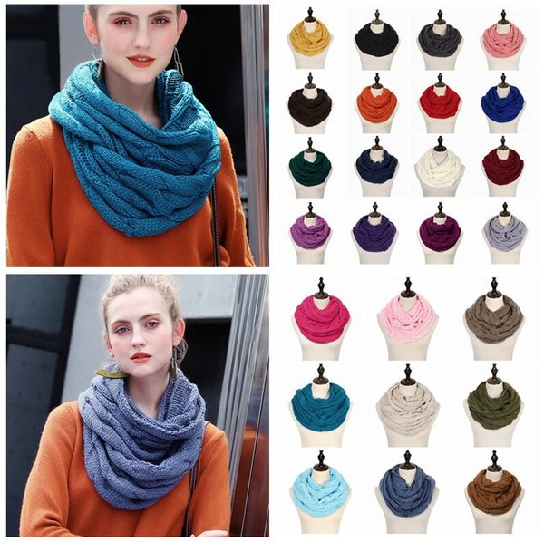 Knitted Circle Loop Scarf Crochet knit Neck Ring Scarf With logo Women Winter Wool Wrap Scarves Thick Warmer Scarf 25Colors 300pcs AAA1452