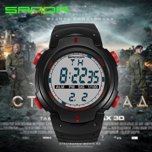 2019 SANDA Moda Hombres Relojes Deportivos Impermeable Al Aire Libre Diversión Reloj Digital Natación Buceo Reloj de pulsera Reloj Hombre Montre Homme