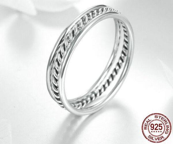 PR2 Anello impilabile con fiocco in argento sterling 925 autentico al 100% Micro pavimenta gioielli da sposa da donna color rosa CZ