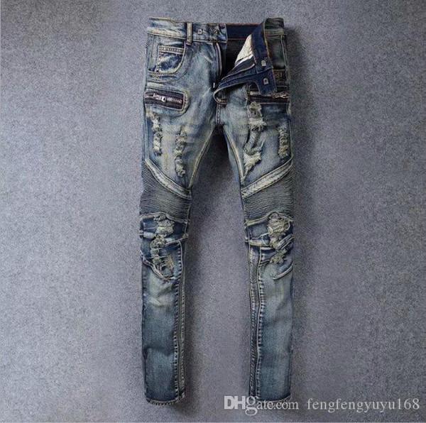 Les nouveaux hommes Skinny Jeans Casual Slim Denim Biker genou trou hiphop Denim Ripped Pants de haute qualité Livraison gratuite