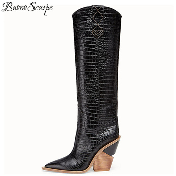 Sexy Embossed Runway T Show Knee High Boots Pointed Toe Women Wedges Strange High Heel Knight Boots Western Cowboy Long
