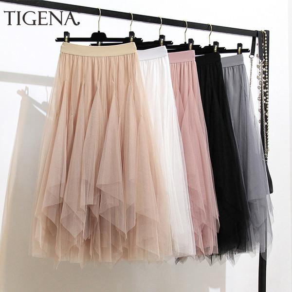 TIGENA Mode Frauen Langen Rock 2019 Sommer Korean Asymmetrische Schichten Tüll Röcke Womens Schwarz Rosa Weiß Niedlichen Rock Weiblichen