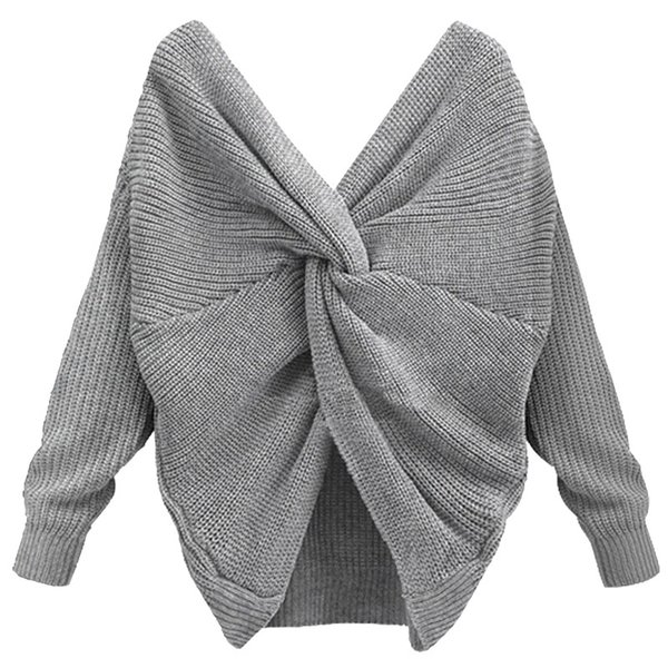 Women V Neck Back Twisted Sweater Female Autumn Winter Long Sleeve Knitted Sweaters Pullovers Pull Femme