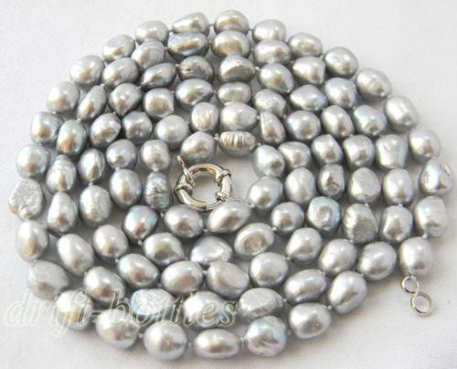 Collana con perle d'acqua dolce barocche grigie da 10 cm
