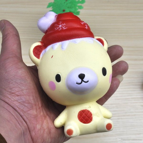 Pretty store Baby chrismas gift Ice-cream Christmas Bear Squishy Toys Decompression Toy Kawaii Kids Gift squishies t134