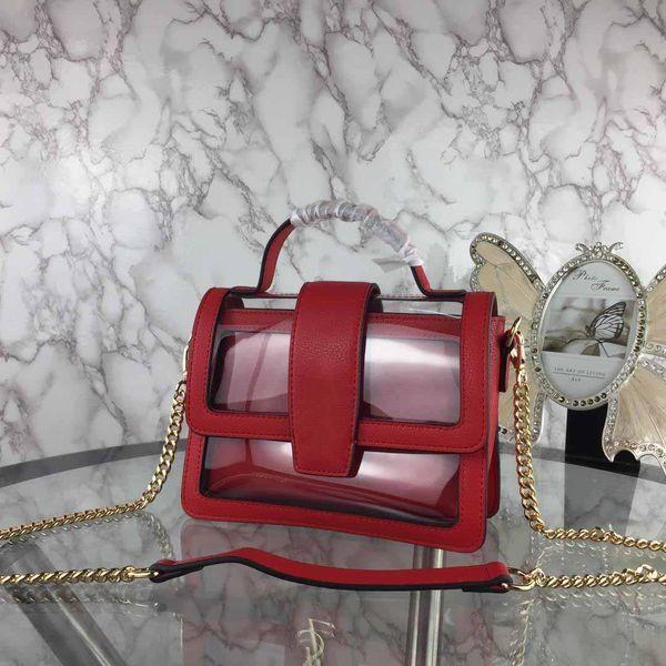 Nuevas mujeres del diseñador de la aleta transparente bolsos del diseñador del bolso de hombro de la cadena del bolso de cuero auténtico bolso de Crossbody Pequeño pruse asas de 22cm