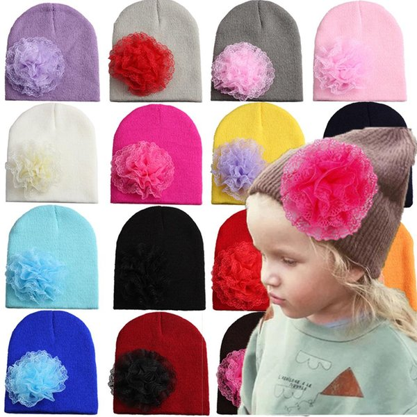 20pcs baby INS candy color knit caps crochet hats beanie with Chiffon flower girl toddler stretchy caps