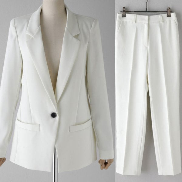 Customized new hot women's suit women's white single button suit two-piece suit (jacket + pants) women's business dress
