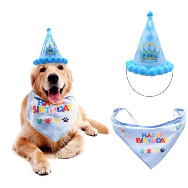 top popular Pets Dog Headwear Accessory Cat Dog Birthday Hat Scarf For Pet Dog Cat Puppy Party Costumes Accessory Cute Hat 1Set=2pcs 2020