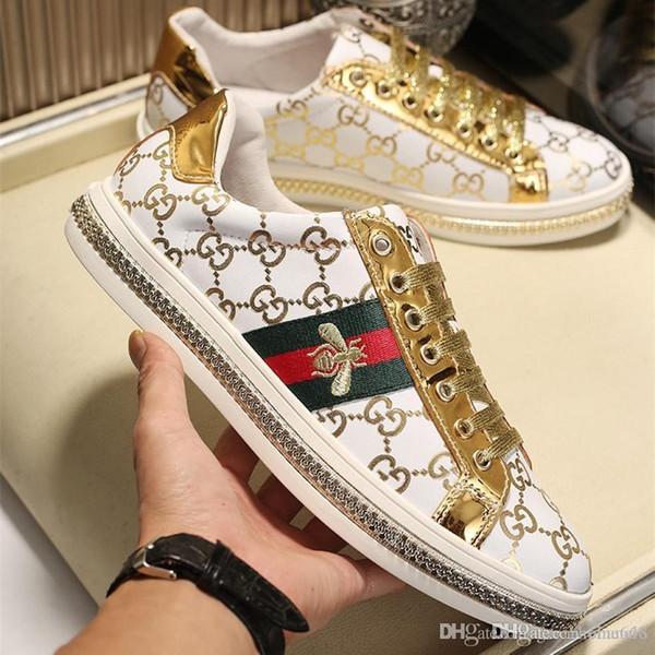 Top LuxuxMens Designer Schuhe mit Biene Farbe Web-ace weiße Schuhe Designer Plattform Turnschuhe Männer Schuhe 1