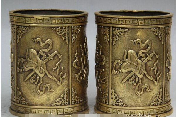 NEW++ Marked China Palace Brass Jean Chess Book painting Brush Pot Pencil Vase Pair