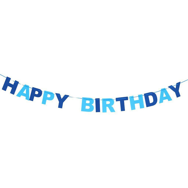 Event Party Banners, Streamers Confetti HAPPY BIRTHDAY Non-woven Pennant Flags Bunting Garland Banner Party Home Hanging Decor (Blue)