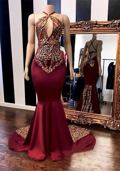 Sexy Keyhole Burgundy Prom Dresses 2019 Burgundy Mermaid With Gold Appliques Embroidery Halter Backless Women Evening Gowns