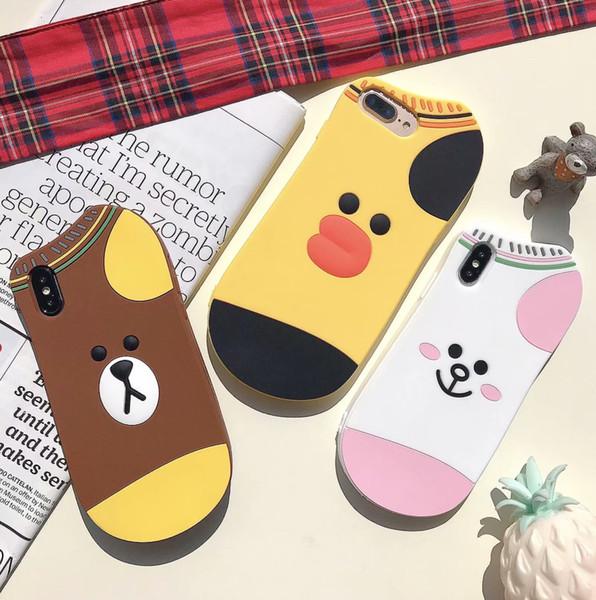 3d sock urso gato pato macio silicone case para iphone xr xs max x 10 8 7 além de 6 6 s designer de luxo animal marca de borracha telefone celular tampa da pele