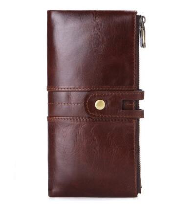 New Genuine Leather Men Long Wallet Business Hasp Clutch Organizer Wallets Slim Coin Purse Card Holder Male Phone Pocket