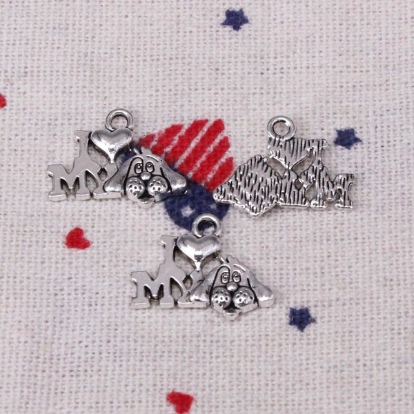 250pcs Charms I love my dog 17mm Pendant,Tibetan Silver Pendant,For DIY Necklace & Bracelets Jewelry Accessories