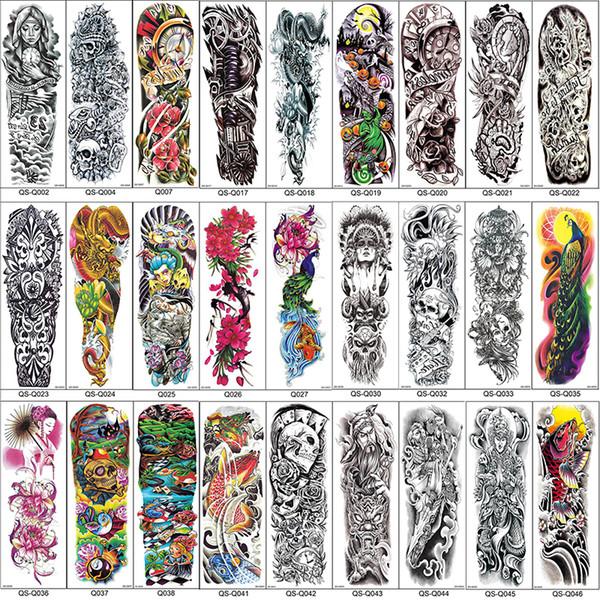 Полная рука временные татуировки рукава Павлин пион дракон череп конструкции водонепроницаемый прохладный Мужчины Женщины татуировки наклейки боди-арт краски