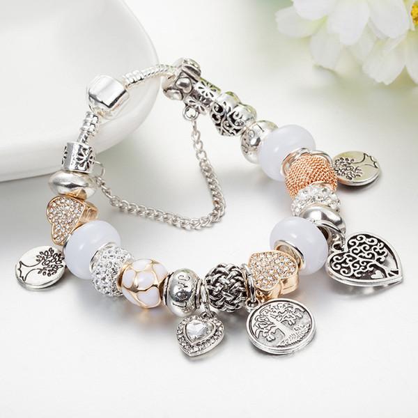 Braccialetto di fascino di modo 925 Braccialetti d'argento di Pandor per le donne Braccialetto di fascino del pendente dell'albero di vita Pandora Branello di amore come regalo Monili diy con il marchio