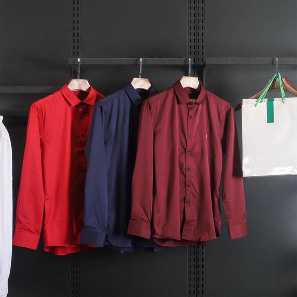 Mens marca camisas 2019 nova chegada moda homens carta cor sólida camisas de negócios casuais mens marca tops camisas tamanho grande