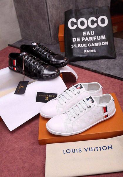 la mode 2019 Hot Fashion Trendy Hommes Chaussures pas cher Chaussures en cuir dentelle avec la boîte Low Top Chaussures