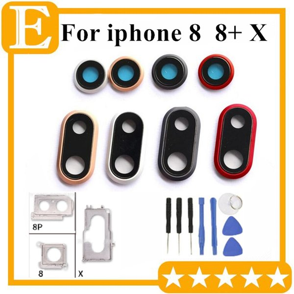 10Pcs Back Camera Lens Glass With Frame Ring Metal Bracket Holder for iPhone 8G 4.7'' 8 Plus 5.5'' X Replacement Parts