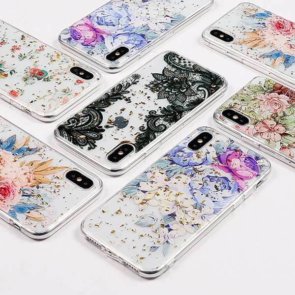 Transparent Clear Platinum Epoxy Soft Beautiful Floral Flower Gold Silver Foil Cover Back Case For iPhone XS MAX XR X 8 7 6 6S Plus