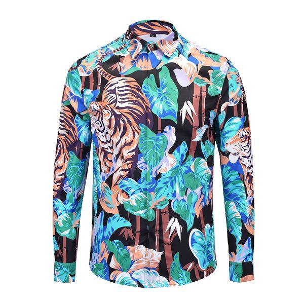 Mode-Langarmhemd 2019 Modetrend Druck Medusa Muster Herren Freizeit Strickjacke Lose Reverskragen Hemd Herrenhemden