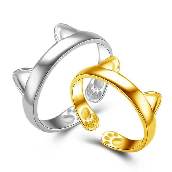Bonito 18 K Branco Ouro Anéis Da Banda de Orelha de Gato Com Pata charme Anéis Abertos Para As Mulheres Partido Anéis de Dedo Jóias Meninas Bonitas de Ouro Anel Midi
