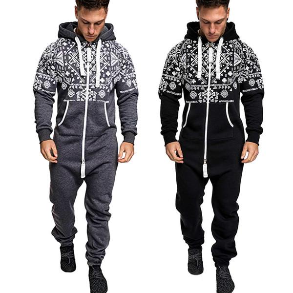 Men's Xmas Autumn Winter corduroy overalls Casual Hoodie Print Christmas Zipper Print Jumpsuit latex bodysuits for men #9