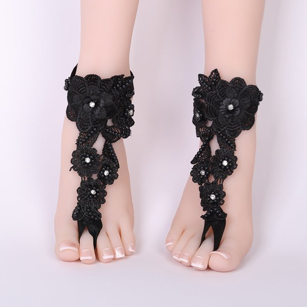 Black Barefoot Sandals Beach Pool Wear Toe Ring Anklet Nudeshoes Foot jewelry Victorian Lace Yoga Shoes Bridal Anklet Pearls