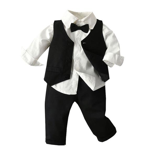 Toddler Kid Children Boys Autumn Clothes Dress Gentleman Long Sleeve T shirt Kids Teenage Boys Sets Clothing Outfits