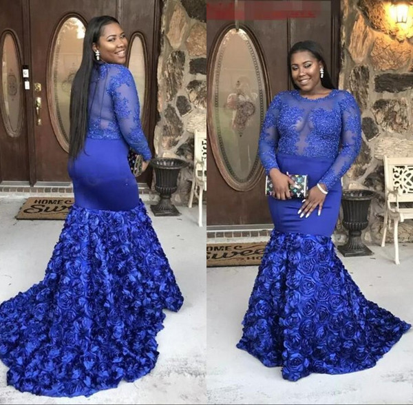 2019 Sheer Long Sleeves Lace Appliques Royal Blue Plus Size Prom Dresses  Mermaid Prom Dress Long Rose Train African Slim Evening Wear Maxi Dress ...