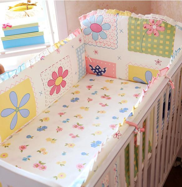 Promotion! 6PCS baby crib bedding crib bumper 100% cotton cot bedding set baby cot set (bumpers+sheet+pillow cover)