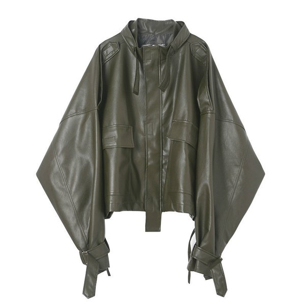 tvvovvin 2019 spring new retro leather large size long sleeve zipper big pocket jacket fashion men's jacket f439