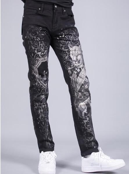 Europa de los hombres, Estados Unidos, versión de Corea del Sur de la nueva tendencia de moda, personalidad adelgazante, impresión de otoño, pantalones de pierna pequeña / 28-36.
