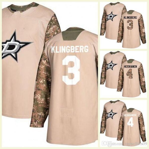 best loved 84e2c cdada 2019 2017 2018 Season Dallas Stars 3 Klingberg 4 Miro Heiskanen 9 Modano 13  Mattias Janmark Custom Any Name Hockey Jerseys Mens Camo White From ...