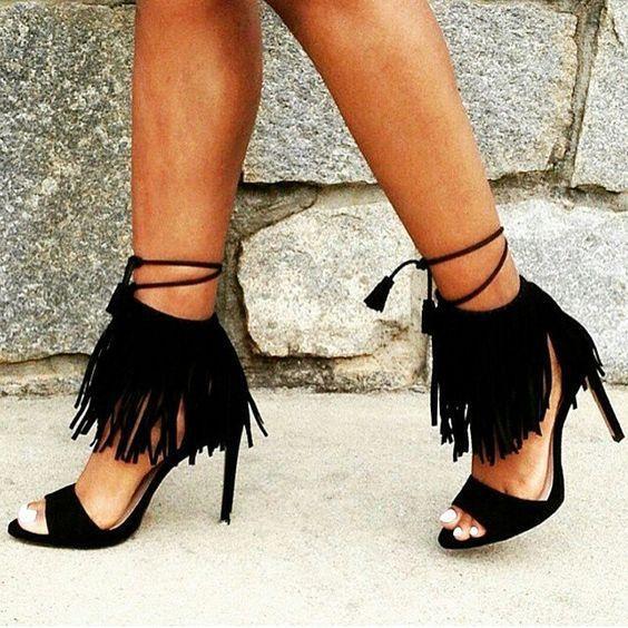 New summer high heels women sandals gladiator cross strappy sexy fringe fashion open toe black big size ladies shoes sandalias