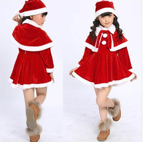 Baby clothes 2018 FASHION Toddler Kids Baby Girls Christmas Clothes Costume Party Dresses+Shawl+Hat Outfit free shipping