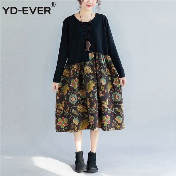 729a8a4d1 YD EVER Women Dresses Winter Long Sleeve Elegant Ladies Print Floral ...