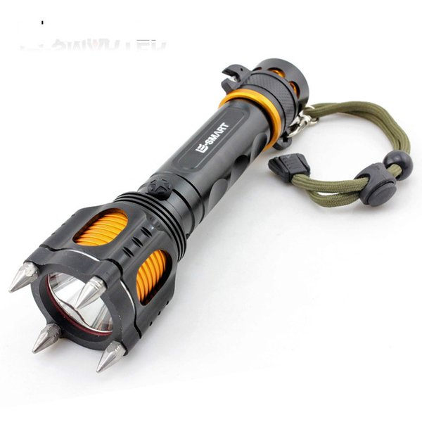Military T6 LED rechargeable flashlight for protection against wolves hunting security patrol outdoors tactical outdoor defensive camping