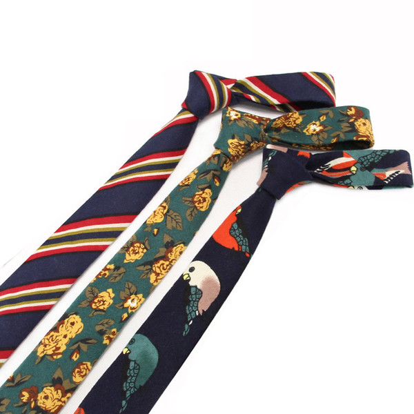 Men's cotton printed tie Europe and the United States fashion casual cartoon pattern collar Manufacturers wholesale custom personalized