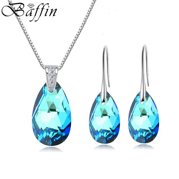 Baffin Water Drop Stones Jewelry Sets Genuine Crystals From Swarovski Silver Color Pendant Necklace Dangle Earrings For Women Y19051302