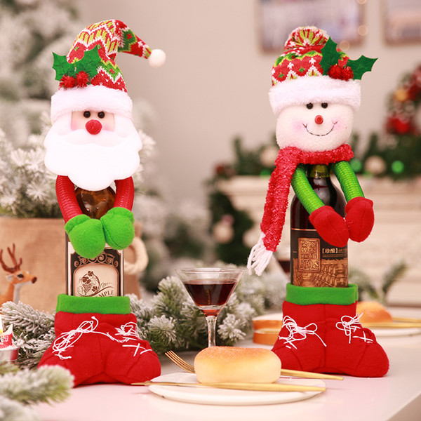 2PCS New Cute Style Santa Claus Red Wine Bottle Cover Bags Set Christmas Gift Holders Holding Bottle Cover Christmas Decoration