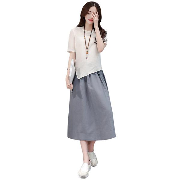 Sommer Neue Mode Frau Lose Leinen Langen Rock Kurzarm Lässige Tops Shirt zweiteilige Set Frauen Anzug Kleidung