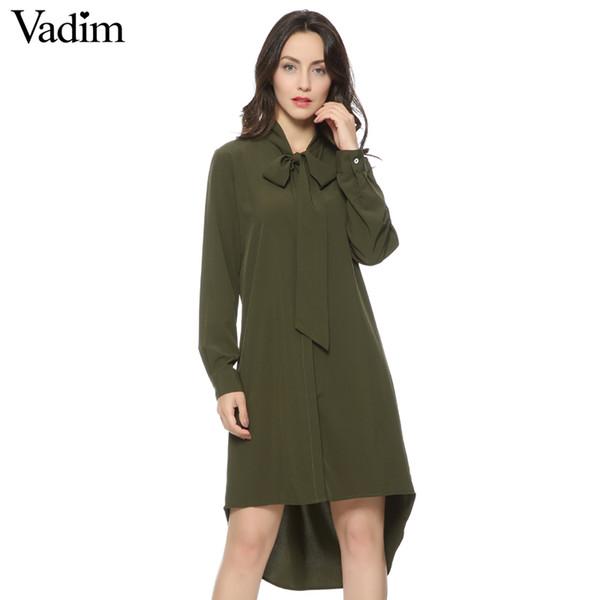 Compre Mujeres Ejército Verde Cuello Pajarita Vestido Cuello Alto Manga Larga Vestidos Sueltos Femininas Verano Casual Pajarita Vestidos A 3935 Del