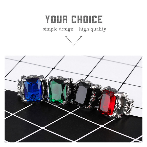 Big CZ Stone Gothic Crown Rings 316L Stainless Steel High Quality Mens Biker Rocker Punk jewelry wholesale