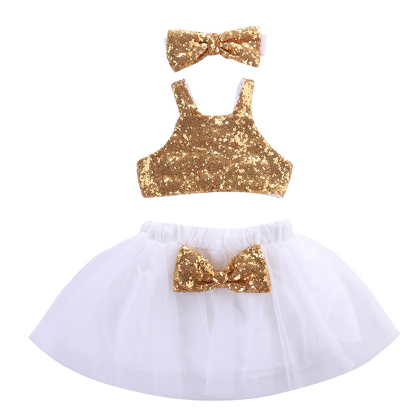 Christmas Toddler Kids Baby Girl Sequins Tops+Tutu Lace White Skirts 3pcs Outfits Set Bow Gold Clothing